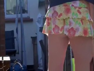 Upskirt pussy and ass of my teasing sister