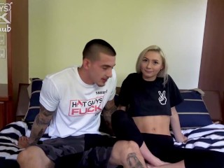 super popular tatted big cock boy lays it down on tiny petite blonde
