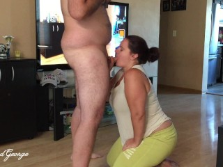On Her Knees and Ready To Please - Missy Enjoys A Mouthful of Dick and A Face Full of Cum