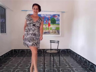 Striptease at art gallery with pussy high heels Shaved pussy Nice woman shows her body when undress